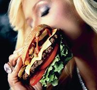 Paris Hilton with Hardee's burger