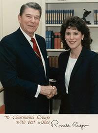 Ronald Reagan with Charmaine Crouse circa 1988